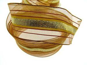 ** 2m x 40mm Wired Bronze Lurex Ribbon