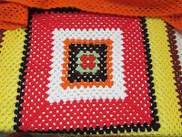 Vintage Handmade Crochet Granny Blanket Afghan Lap Throw Multi Color Square