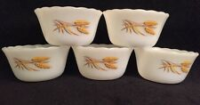 Fire King Golden Wheat 6 oz Custard Cup Dishes Good Cond Vintage Lot Of Five