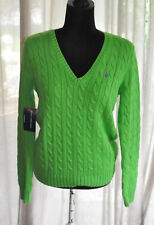 *Ralph Lauren* BNWT (Blue Label) Emerald Green cable knit sweater + polo pony M