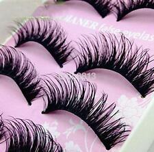 5Pair Natural Black Long False Eyelash Makeup Thick Soft Eye Lashes Extension US