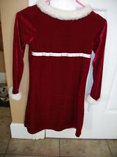 KIDS RED AND WHITE CHRISTMAS HOLIDAY DRESS SIZE 7 / 8 LONG SLEEVE BASIC EDITIONS