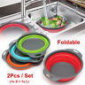 2PACK Silicone Collapsible Colander Fruit Vegetable Draining Strainer Basket QU