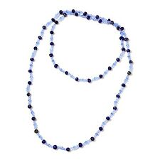 Freshwater Blue Pearl, Glass Beads Endless Necklace (50 in)