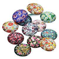 10pcs Floral Pattern Glass Flatback Cabs Decor Ornament DIY Accessories 10-25 MM