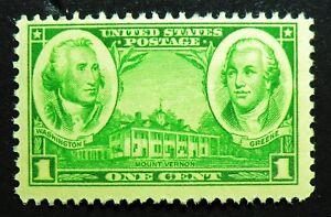 785 MNH 1936 1c George Washington Nathanael Greene Army Mount Vernon Nathaniel