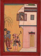 Kangra School Art Handmade India Miniature Balaram Krishna Radha Pahari Painting