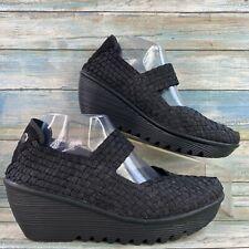Bernie Mev Lulia Womens Woven Mary Jane Shoe Black Wedge Heel Slip On Size 10.5M