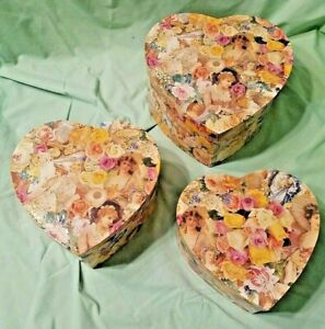 THE GIFTED LINE 1995 VICTORIAN Valentine Heart Nesting Stacking FANCY PAPER Box