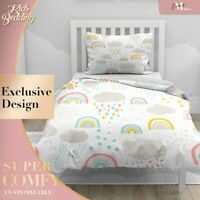 Sky Clouds Rainbow Kids Cartoon Creamy Duvet Cover Sets Single Double Queen King