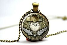 Cúpula de cristal de cabujón de colgante collar de encanto Gótico / Steampunk Escarabajo Reloj Reloj