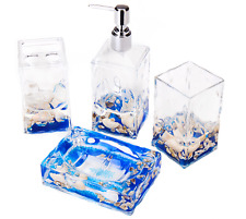 4 Piece Acrylic Liquid 3D Floating Motion Bathroom Vanity Accessory Set Shell
