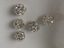 5 Strassperlen Kugeln 12 mm cristal silber klar Kugeln mit Zirkonia B32