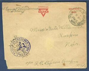 YMCA A.E.F. Soldier's Mail 1918 Cover Passed Army Censor