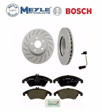 For Mercedes FRONT BRAKE KIT 2 Front Disc Brake Rotors Meyle PADS SENSOR