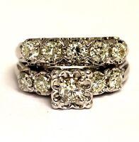 14k white gold 1.32ct round diamond engagement ring wedding band 7.9g