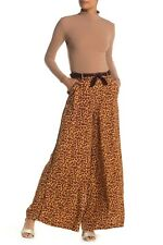 Free People Womens Size 2 Bennie Animal Print Wide Leg Pants Belted Viscose $128