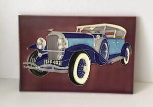 Hand Crafted Decorative Art Ceramic tile 'Vintage Car'