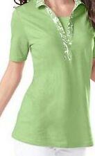 Damenshirt Shirt Kurzarm Baumwolle hell grün Polokragen floraler Druck Gr.46