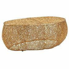 WOHNLING Couchtisch Aluminium 110x45x65 cm Wohnzimmertisch Sofatisch Gold Tisch