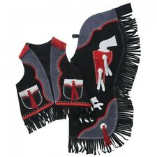 Black and Red Youth Medium Chap and Vest Set with Gun Holster Design Horse Tack