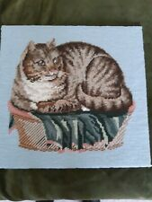 Large Vintage English woolwork of Cat in a basket