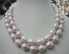 Énorme 10-12 mm blanc d'eau douce Perle Baroque Collier 34 IN (environ 86.36 cm) JN1003
