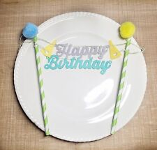 Happy Birthday Cake Topper Party Event Decorations Grey Green