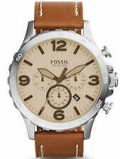 Men's Fossil Nate Chronograph Leather Band Watch JR1503
