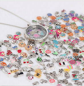 50pcs Lots Handmade Mix Floating Charms for Glass Living Memory Colorful Locket