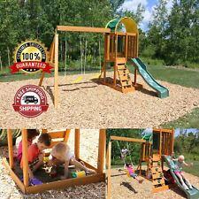 Wooden Swing Set Slide Kids Playground Outdoor Backyard Children Play w/ Sandbox