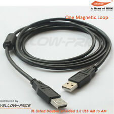 2X6FT USB 2.0 AM-AM CABLE w/Ferrite core support Hi-speed data transfer 480 Mbps