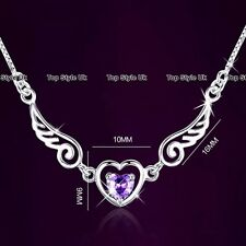 Silver 925 Angel Wing Heart Necklace Purple Diamond Xmas Gifts for Her Women TU1