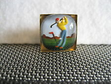 GOLFER Reverse carved &painted intaglio golfer vintage cabachon tie or lapel pin