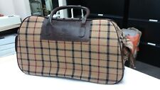 Brooks Brothers Wool Plaid/Leather Trim Small Travel Case