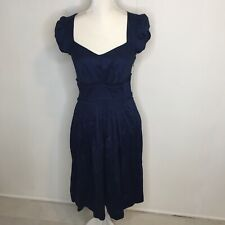 eShakti Women's Dress Size Medium 8 Pockets Navy Blue Career Cap Sleeve Ruffle