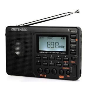 Retekess V115 Portable AM/FM/SW Radio Receiver MP3 Player Rechargeable Recorder