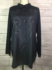H&M Women's Long Sleeve Studded Button-up Shirt Size Large Polyester