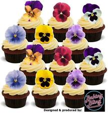 Pansy Pansies Flowers 36 Value Pack STAND UP Edible Cake Toppers Decorations