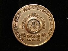 Alcoholics Anonymous 9 Month Aa Bronze Medallion Token Coin Chip Sobriety Sober