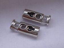 2 Stück Metall Kordelstopper Stopper mit Feder silber  NEU  rostfrei #409a#