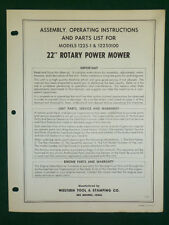 """Western Tool 22"""" Rotary Mower Assembly, Operating, Parts Manual 1225-1 12250100"""