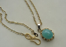 """Amazonite Necklace 8x10MM Oval Natural Gemstone 18"""" open link chain"""
