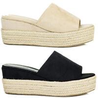 Womens Open Peep Toe Wedge Heel Sandals Shoes Sz 3-8