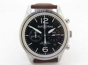 .Auth Bell & Ross Steel Auto Chronograph 100m Watch 41.5MM BR 126-94-SS + Docs