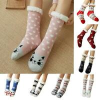 Women's Winter Warm Socks Sleep Bed Floor Home Fluffy Hosiery Gifts Xmas V2F5