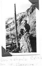 VINTAGE PHOTOGRAPH 1937 STONY LAKE MONTANA FORESTERY MAN FISHING TRIP DOG PHOTO