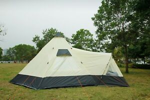 Tipi Tent 6M Zipped-in-Groundsheet Family Camping 12 Person teepee 6 meter tent