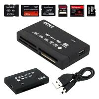 All in One Memory Card Reader USB External SD SDHC Mini Micro M2 MMC XD CF Black