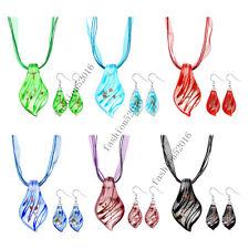 6sets Leaf Lampwork Glass Murano Bead Pendant Ribbon Necklace Cord Earrings Set